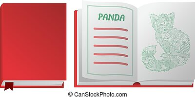 biały, książka, panda, tło, czerwony
