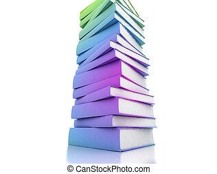 biały, książki, barwne tło, odizolowany
