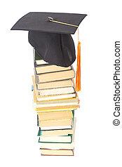 biały, książki, kapelusz, odizolowany, skala