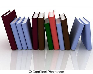 biały, książki, odizolowany, tło, stóg