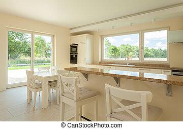 biały, kuchnia, w, nowoczesny, dom
