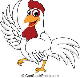 biały, kurczak, szczęśliwy