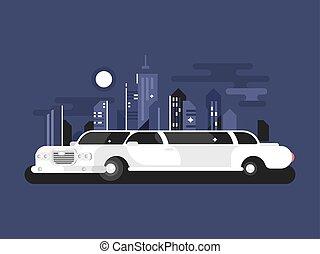 biały, limuzyna, wóz