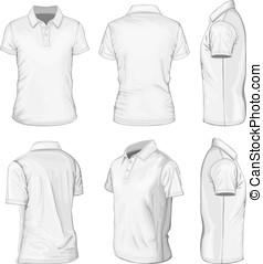 biały, mężczyźni, polo-shirt, rękaw, krótki