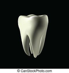 biały, maked, oczko, zęby
