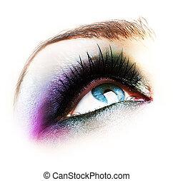 biały, makijaż, oko, odizolowany