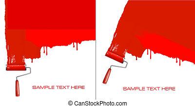 biały, malarstwo, wałek, czerwony, wall.
