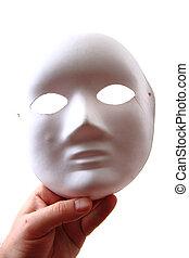biały, mięsopustna maska, w, ludzka ręka