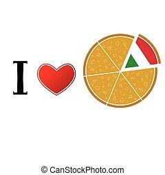biały, miłość, ilustracja, pizza