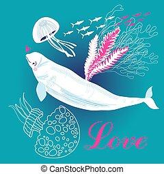 biały, miłość, wieloryb