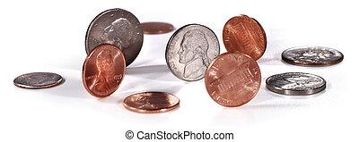 biały, monety, na