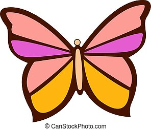 biały, motyl, tło., wektor, ilustracja, barwny
