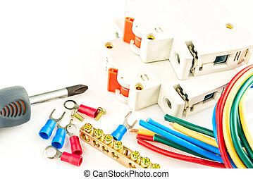 biały, narzędzia, elektryczny, tło