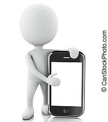 biały, następny, 3d, smartphone., ludzie