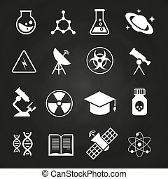 biały, nauka, wektor, ikony, na, chalkboard