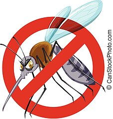 biały, nie, moskit, znak