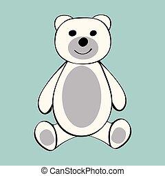 biały, niedźwiedź, zabawny, rysunek, zwierzę, toy.