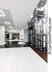 biały, nowoczesny, czarnoskóry, korytarz