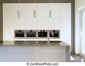 biały, nowoczesny, kuchnia