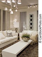 biały, nowoczesny pokój
