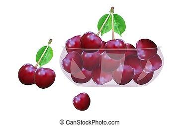 biały, odizolowany, tło., cherry., puchar, szkło, wiśnie