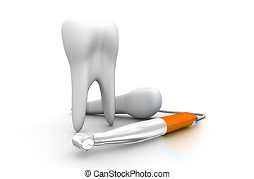 biały, odizolowany, tło, zęby