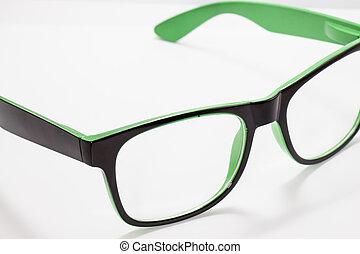 biały, oko, odizolowany, okulary