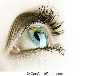 biały, oko, odizolowany, tło