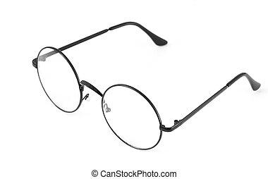 biały, okular, okrągły