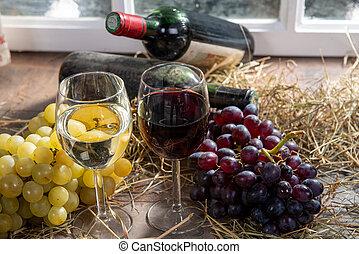 biały, okulary, czerwone tło, winne butelki, winogrono