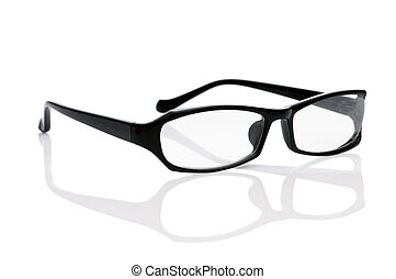biały, optyczny, odizolowany, okulary, czytanie
