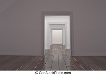 biały, otwarty, korytarz, drzwi