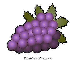 biały, owoc, odizolowany, winogrona