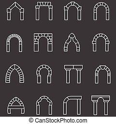 biały, płaska lina, wektor, ikony, dla, brama