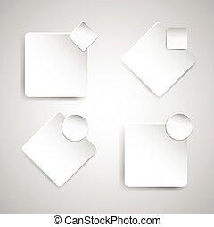 biały, papier, chorągiew, szablon