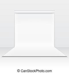 biały, papier, studio, zasłona