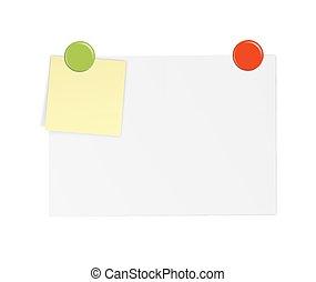 biały, papier, z, notatki, i, magnes
