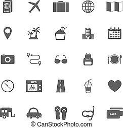 biały, podróż, tło, ikony