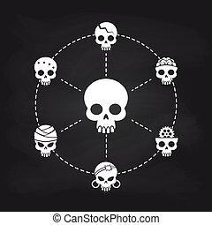 biały, pojęcie, chalkboard, czaszka, ikony