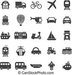 biały, przewóz, tło, ikony