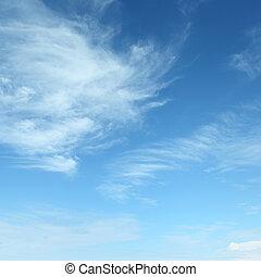 biały, puszysty, chmury