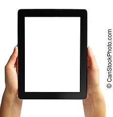 biały, ręka, odizolowany, tabliczka, cyfrowy