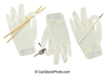biały, rękawiczka, ręka