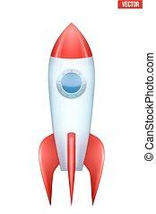 biały, rakieta, odizolowany, tło