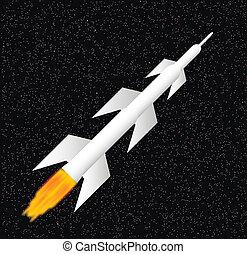 biały, rakieta, przestrzeń