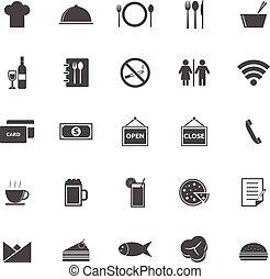 biały, restauracja, tło, ikony