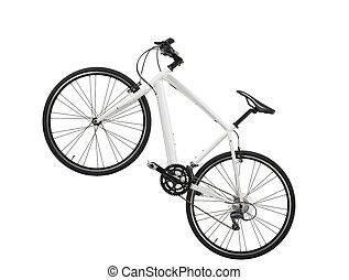 biały, rower, odizolowany