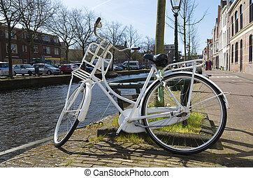 biały, rower