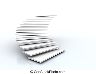 biały, schody, odizolowany, tło