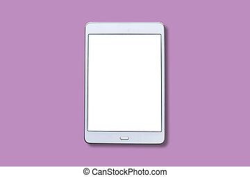 biały, screen., tabliczka, czysty